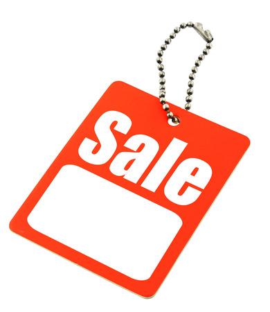 Verkoop-tag met een kopie ruimte geïsoleerd op wit