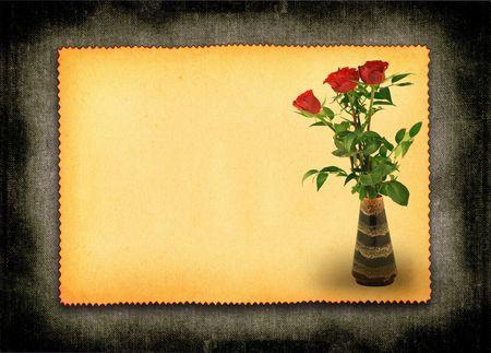 retro liefde kaart met bloemen motief, grote ruimte voor uw exemplaar contenet
