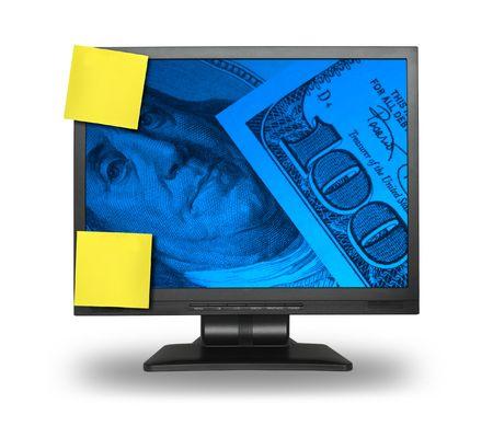 LCD-scherm met geld achtergrond en twee lege gele notities, zachte schaduw in voorkant, foto binnen is mijn eigendom