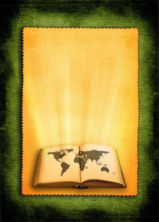 open oud boek met wereldkaart tegen retro achtergrond Stockfoto