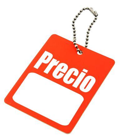 prijs kaartje met de Spaanse prijs woord- en kopieer ruimte voor een bedrag van geld