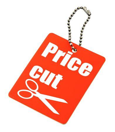 close-up van prijsverlaging tag tegen witte achtergrond Stockfoto