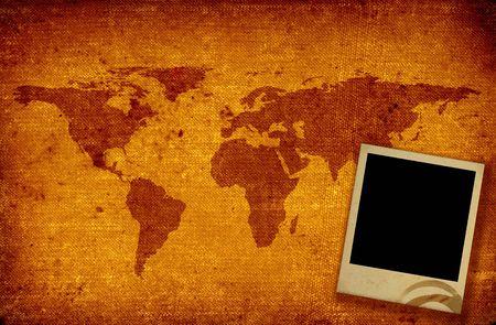 oude grunge wereldkaart en blank gekleurd Photo Frame