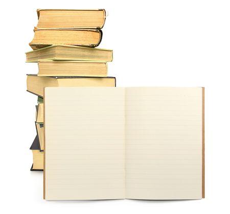 bekleed Schrift met boeken in de achtergrond, zichtbare schaduw in front