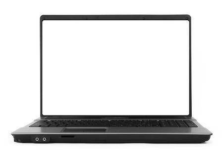 brede holle notebook tegen een witte achtergrond, natuurlijke schaduw in front, focus ingesteld op het scherm