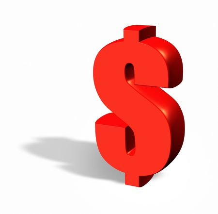 red 3d dollar with a shadow isolated on white
