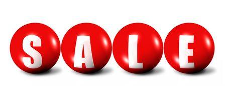 rode woord verkoop van bollen op witte achtergrond Stockfoto