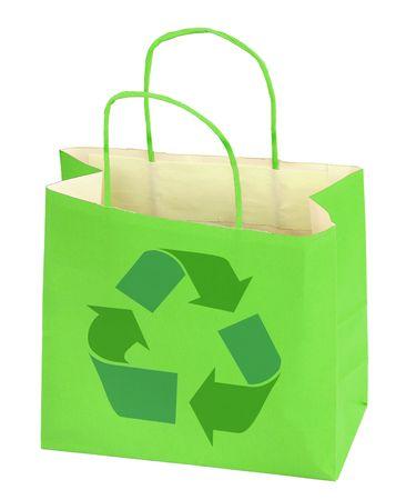 boodschappentas met recycle symbool op wit Stockfoto