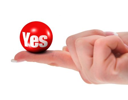 infringement: Yes sign on finger, shallow DOF, there is no infringement of trademark copyright Stock Photo
