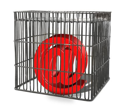 At sign trapped in a cage, there is no infringement of trademark copyright photo