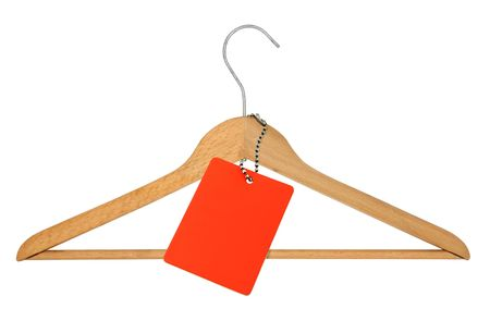 clotheshanger: coat hanger and blank price tag on white Stock Photo