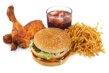 fast food collection on on white background Stock Photo