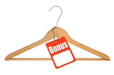 clotheshanger: coat hanger and bonus tag on white background