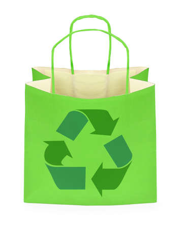 paperbag: shopping bag with recycle symbol on white