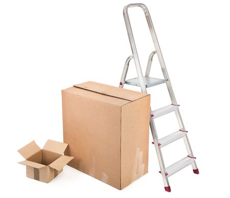 ladder and two cardboard boxes on white background photo