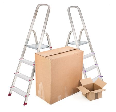 ladders and two cardboard boxes on white background photo