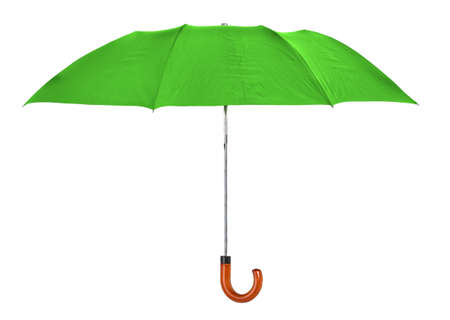 green umbrella isolated on pure  white background