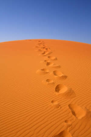 walking on Sahara, Erg Chebbi, Morocco , focus set in foreground Stock Photo