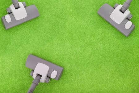 Teppichreinigung mit drei Staubsauger Lizenzfreie Bilder