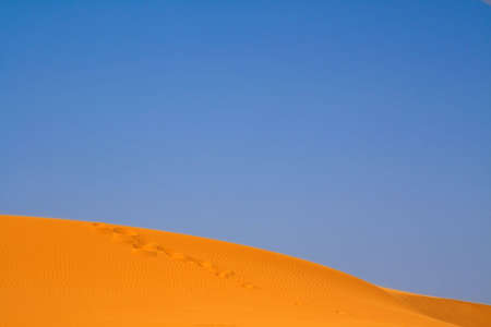 erg: walking on Sahara, Erg Chebbi, Morocco  Stock Photo