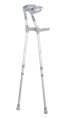 crutches isolated on white background, gentle minimal shadow in front photo