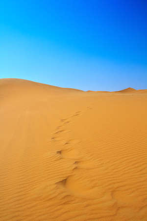 erg: blissful view of sand dunes and cloudless sky, Erg Chebbi, Morocco  Stock Photo