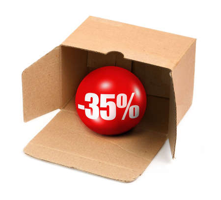 sale concept - open cardboard box and 3D sale ball, photo does not infringe any copyright Stock Photo - 5384368