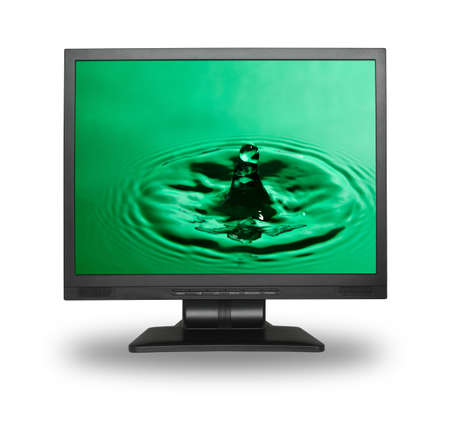 to watersplash: computer monitor with water splash wallpaper (photo inside is my property) Stock Photo