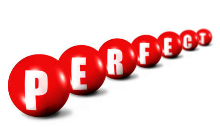 Prerfect word made of 3D spheres on white, focus set in foreground Stock Photo - 5453418