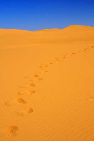 footsteps on sand dunes, cloudless sky in background Stock Photo - 5453449