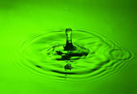 to watersplash: water splash close-up  in green tones