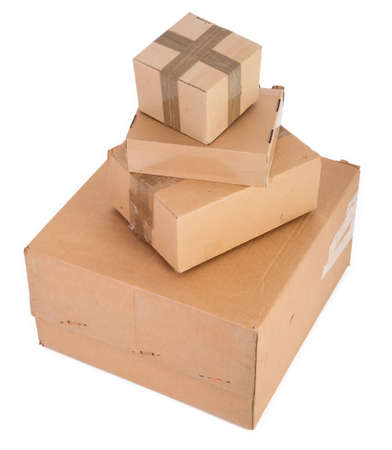 group of cardboard boxes on white background Stock Photo - 5539901
