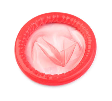 close-up of a red condom on white background