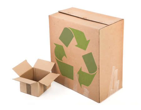 cardboard boxes with recycle symbol on white background photo