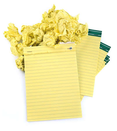 lined paper notebooks and crumpled paper on white background Stock Photo - 5848930