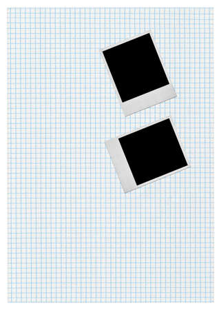 two photo frames on piece of squared paper, all isolated on white  Stock Photo - 5913804