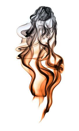 gradually: gradually cooling smoke on white background