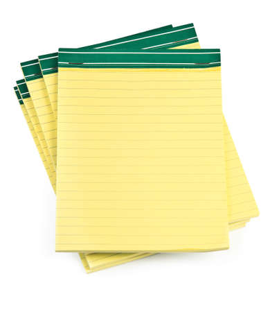 memorise: lined paper notebooks on white background, minimal natural shadow underneath Stock Photo
