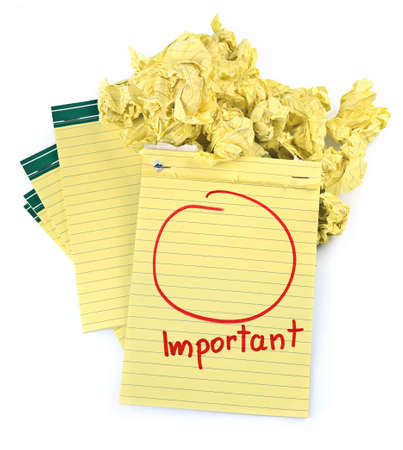 circle scribbled on a lined paper notebook, crumpled paper in background Stock Photo - 6261823