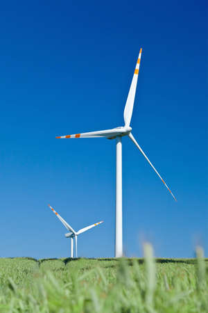 two wind turbines and blue sky from grass level photo