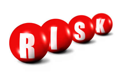riskiness: Risk word made of 3D spheres on white background, focus set in foreground Stock Photo