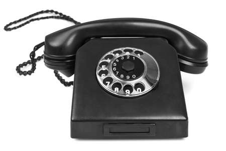 bakelite: old bakelite telephone on white background, gentle natural shadow in front Stock Photo