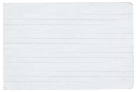 piece of lined paper isolated on pure white background