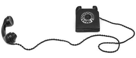 bakelite: old bakelite telephone with long cable on white  Stock Photo