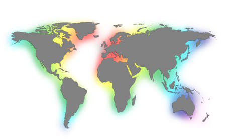 blue world map: colorful world map on white background  Stock Photo