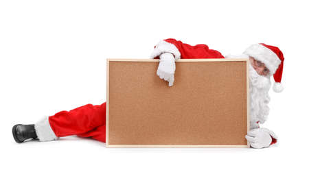Santa claus and empty bulletin board  on white background Stock Photo - 8278808