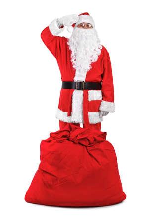 salutes: funny santa claus salutes on white background