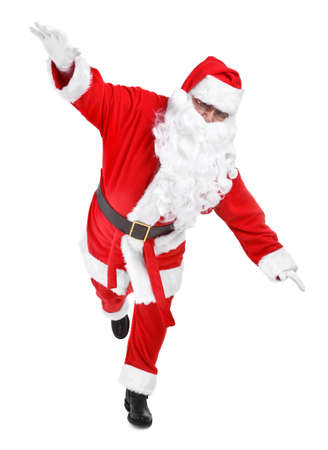 oscillate: funny pose of santa claus on white background