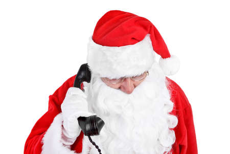 recive: Santa claus receives a phone call on white background