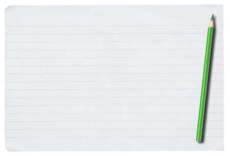 piece of lined paper and pencil isolated on pure white background